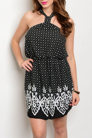 Pattern Halter Dress