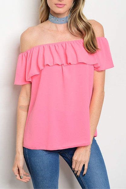 Coral Off The Shoulder Ruffle Top