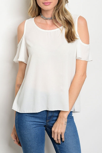 White Cold Shoulder Flowy Top