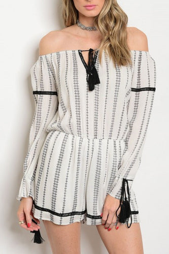 Off The Shoulder Printed Romper