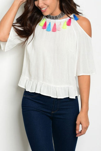 Cold Shoulder Tassel Accent Top