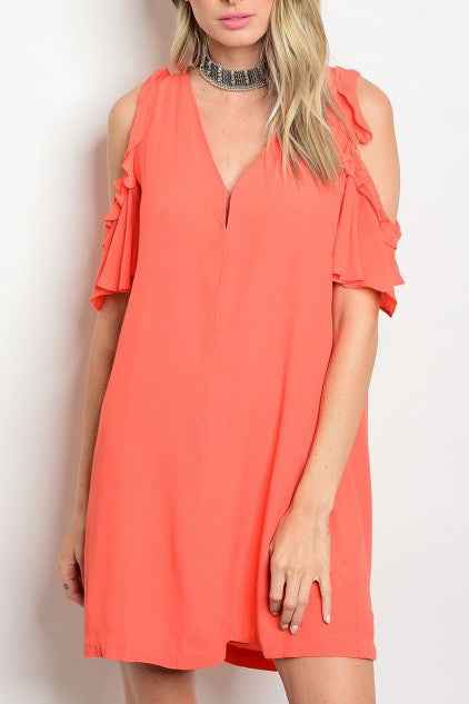 Cold Shoulder V-Neck Dress