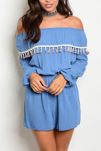 Off The Shoulder Tassel Accent Romper