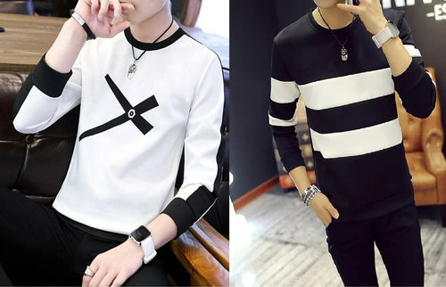 Colourblocked Round Neck T-Shirt For Men - Buy 1 Get 1 Free