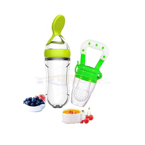 Tiny Tycoonz Combo of 1 piece of Silicone BPA Free Baby Feeding Bottle (90 ml) and 1 piece of BPA Free Food Feeder/Fruit Pacifier