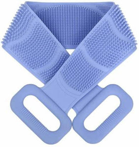 Soft Silicone Back Scrubber Brush Cum Belt for Exfoliating Shower Bath- Double Sides