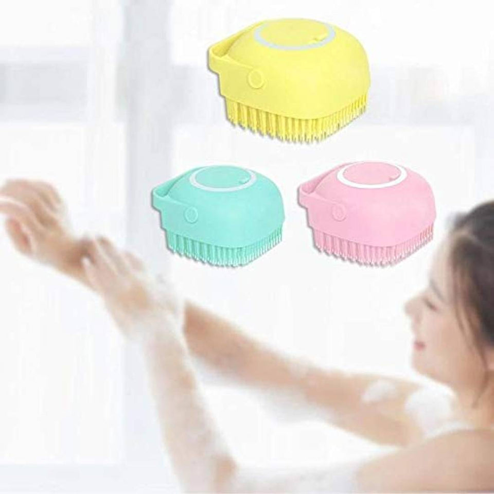 Body Bath Brush, Silicone Soft Cleaning Bath Body Brush with Shampoo Dispenser - Skin Massage Brush Bath Bathroom Accessories (MULTICOLOR-1 PCS)