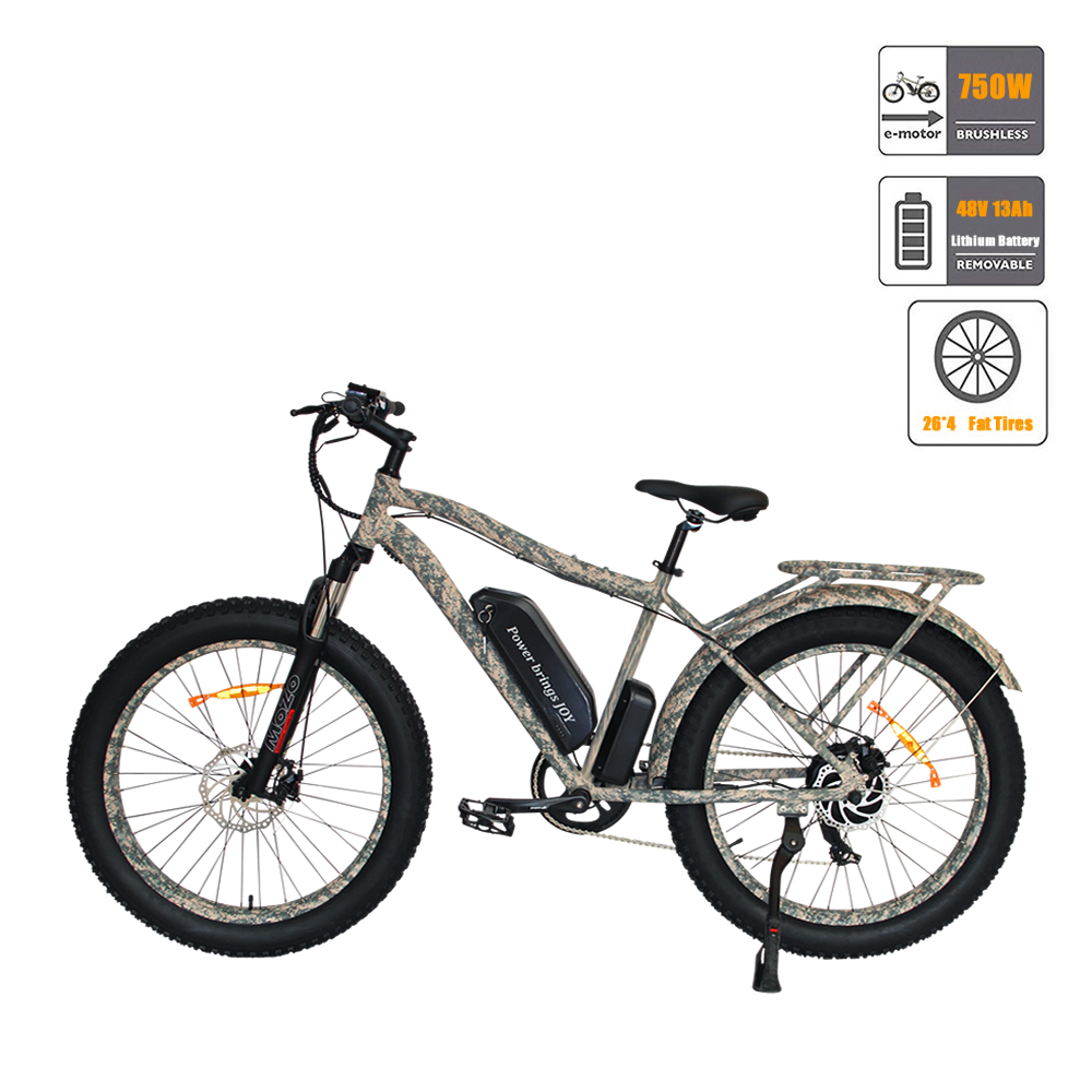 Camo Fat Tire Mountain Electric Bicycle 48V 13AH 750W Electric Bike ebike