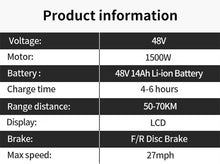 Load image into Gallery viewer, Long range fast fat tire 48v 14.5ah 1500w electric mountain bike ebike
