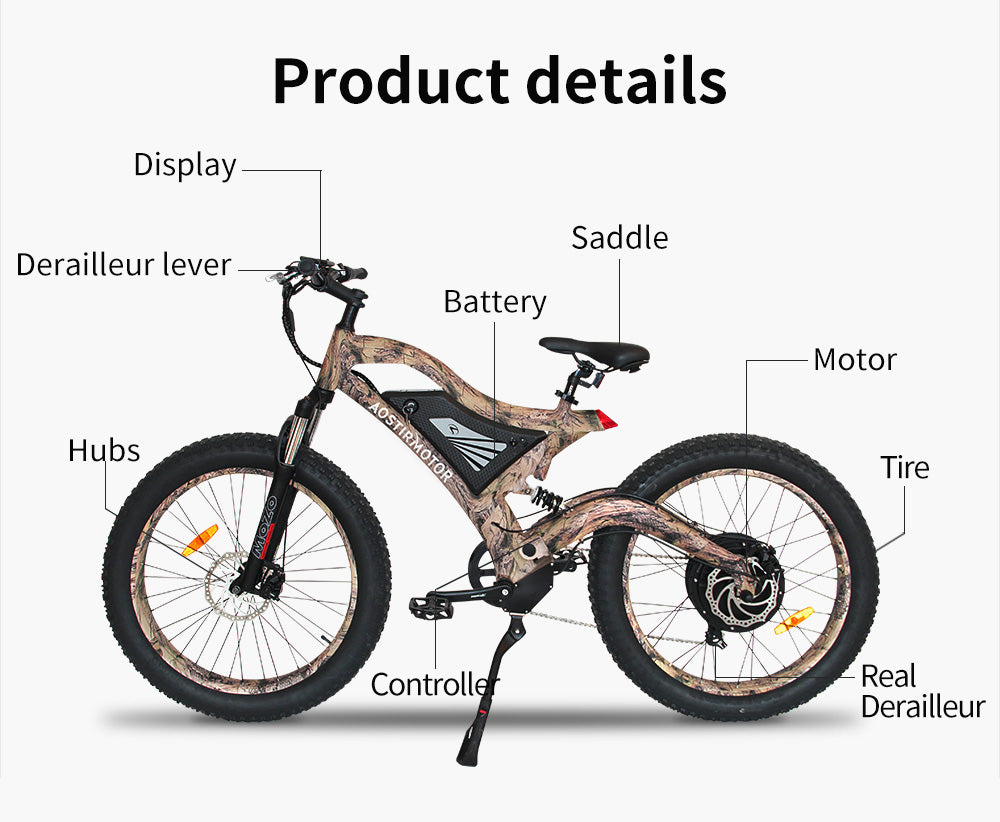 Long range fast fat tire 48v 14.5ah 1500w electric mountain bike ebike