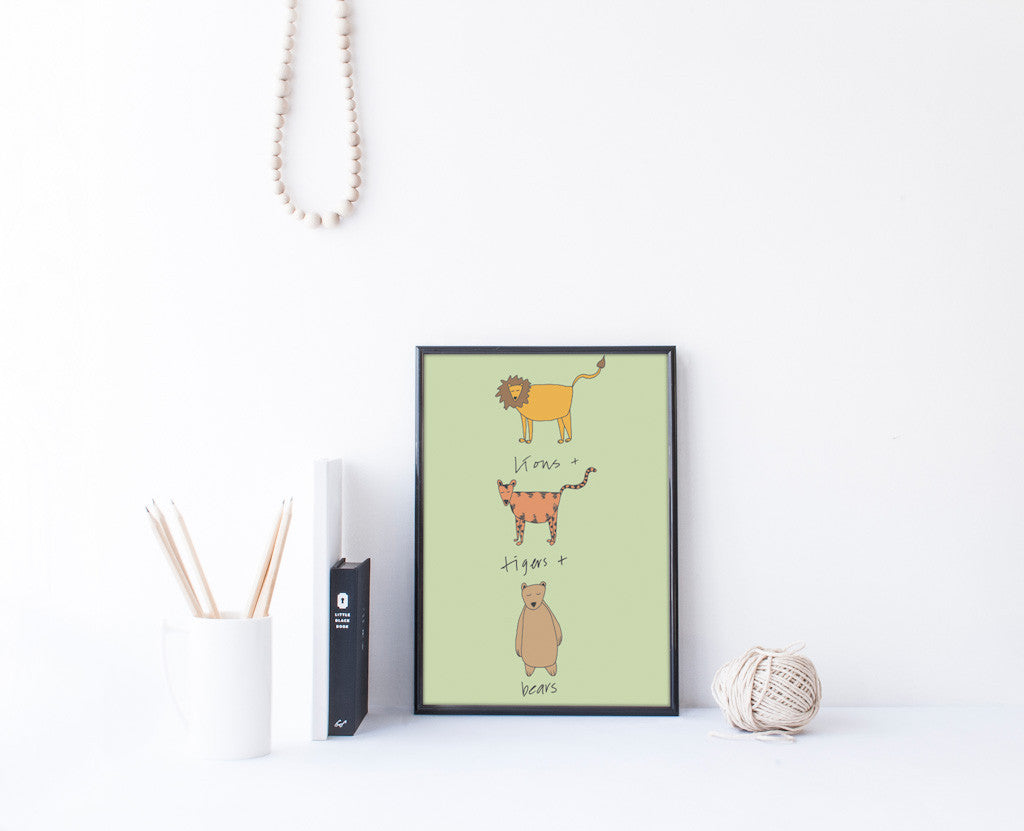 Lion and Tigers and Bears Art Print