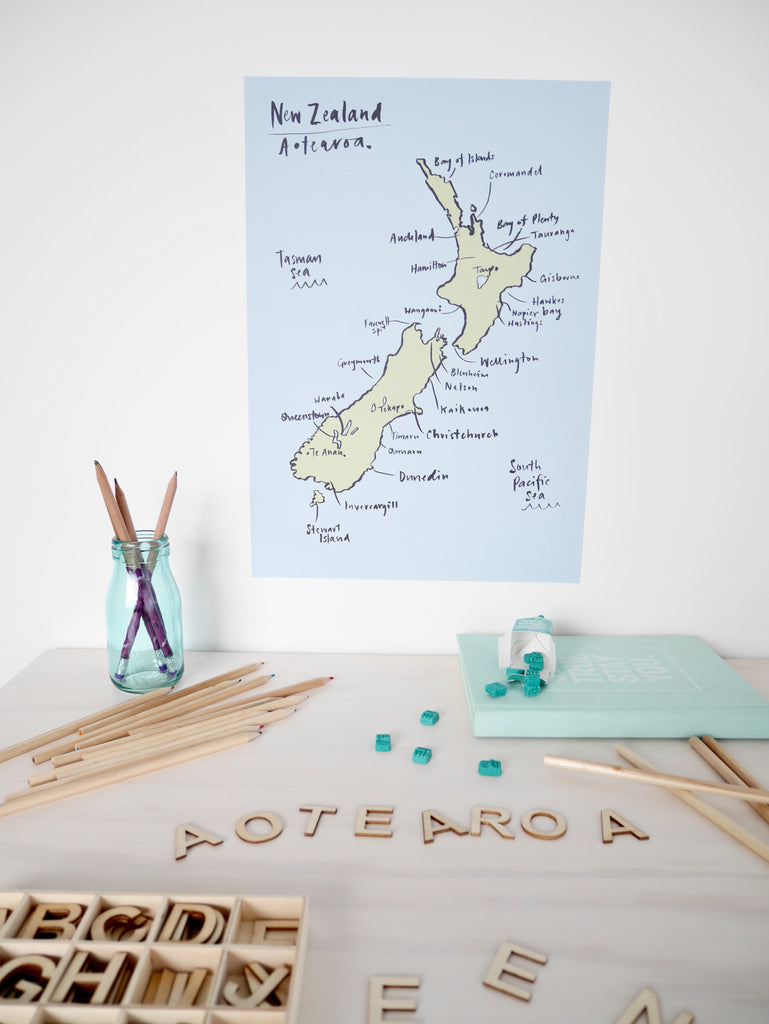 NZ Map removable Poster