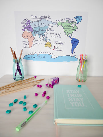 World map removable poster - collab with Henry & Co