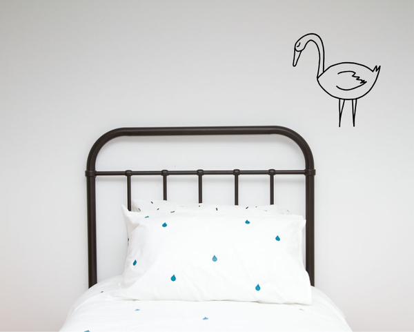 Single Swan Illustration Wall decal - Wall decals - 100 Percent Heart