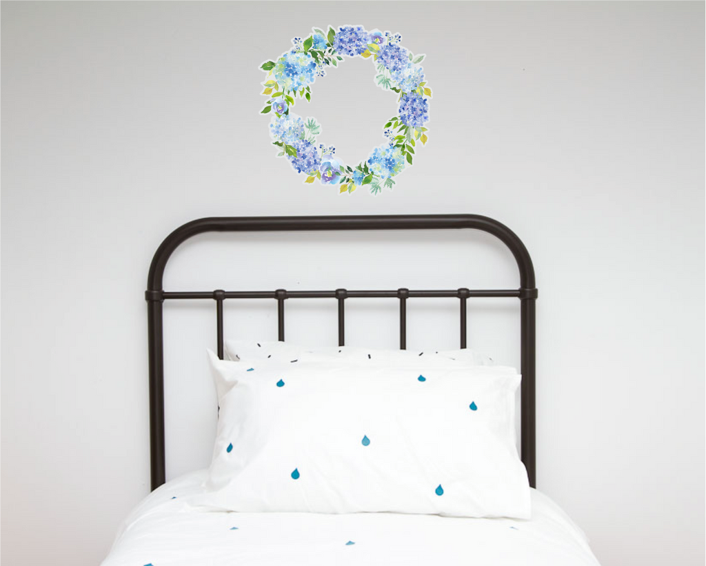 Blues Floral Wreath Decal