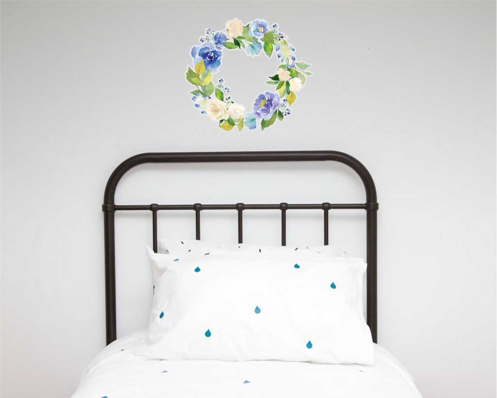 Blues/Green Floral Wreath Wall decals