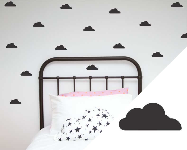 clouds wall decal stickers – one hundred percent heart