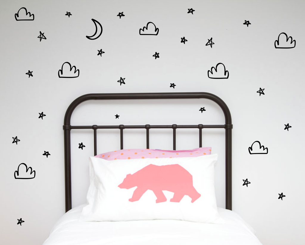 Hand Painted Moons, Stars, Clouds Wall Stickers