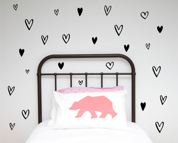 Hand Painted Hearts Wall Stickers