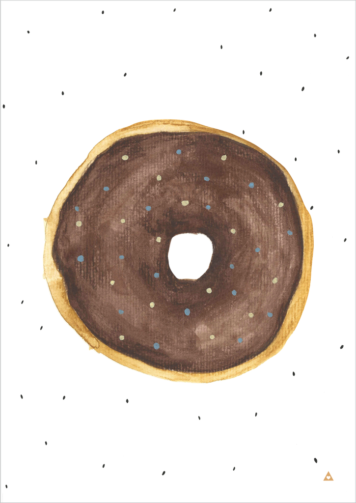 Donut Art Print - Chocolate - Wall decals - 100 Percent Heart
