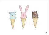 Ice Cream Animals Art Print - Wall decals - 100 Percent Heart