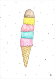 Ice Cream Art Print - Wall decals - 100 Percent Heart
