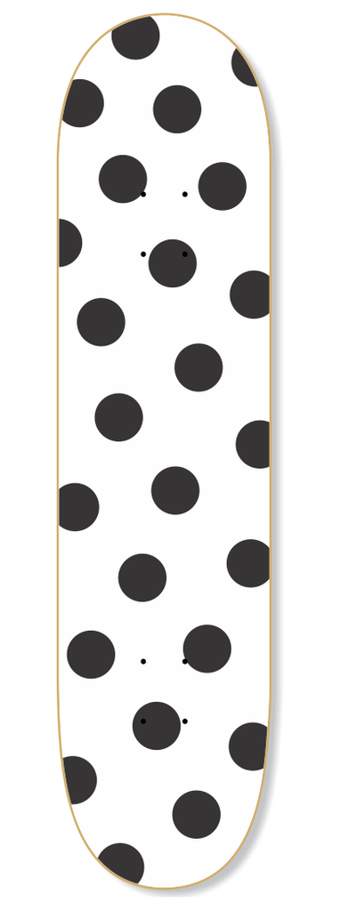 Polka Dots White & Black Skateboard Deck - Wall decals - 100 Percent Heart