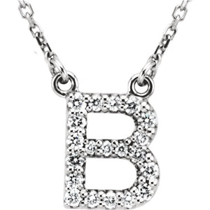 White Gold Letter B necklace