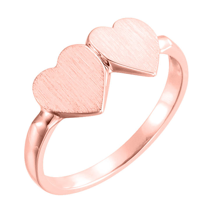 14k rose double heart ring