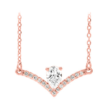 14k rose gold pear diamond necklace