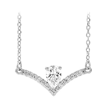 14k white gold pear diamond necklace