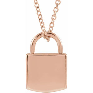 Lock Pendant Necklace (Engrave-able)