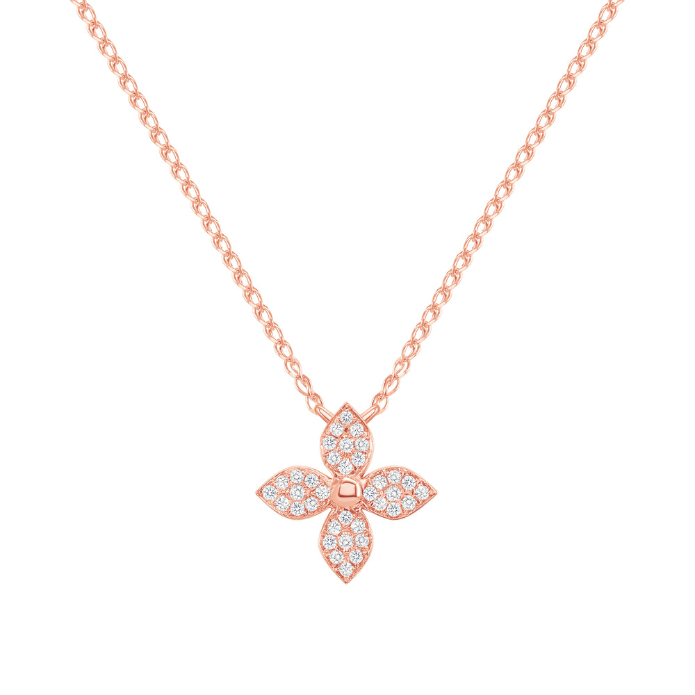 14k rose flower diamond necklace