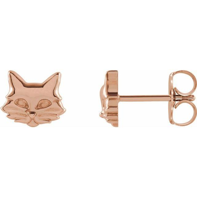 14k white gold cat stud earrings