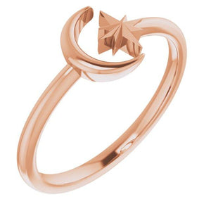 14k rose gold crescent moon and star ring