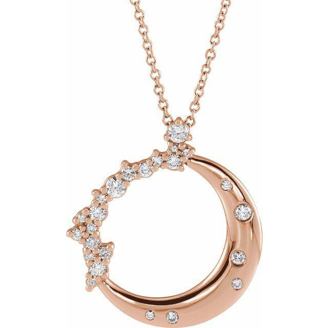 14k rose crescent moon diamond pendant necklace