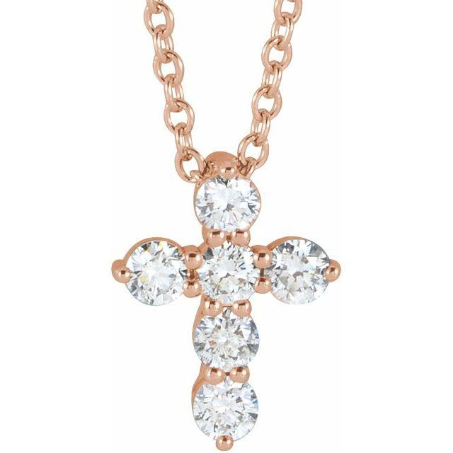 14k rose gold diamond cross necklace