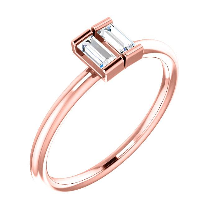 14k rose gold double baguette diamond ring