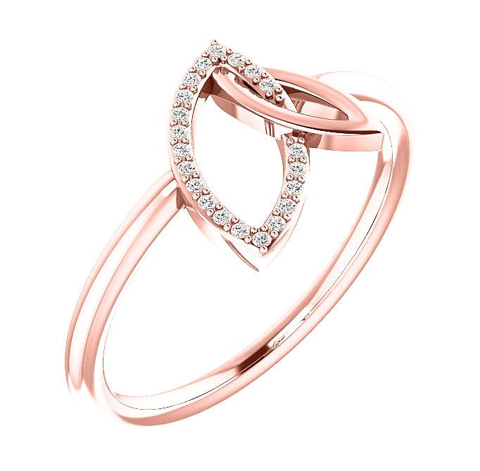 14k rose gold double leaf diamond ring