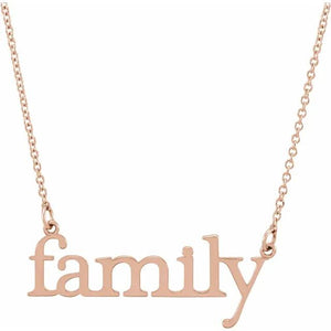 14k rose gold family necklace