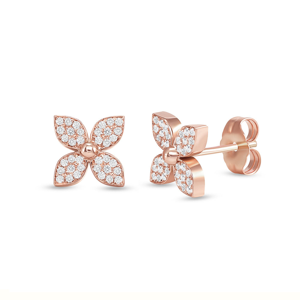 14k rose flower diamond earrings