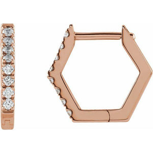 14k rose gold geometric hoop diamond earrings