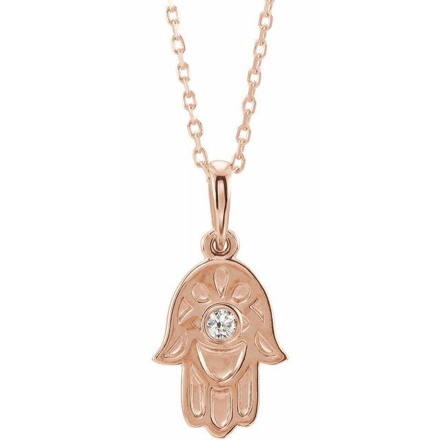 14k rose gold hamsa diamond necklace