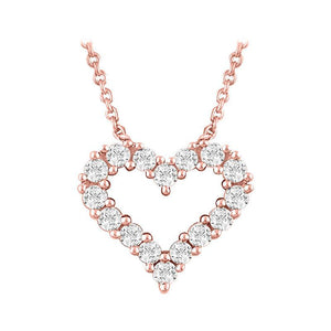 14k rose gold heart diamond necklace