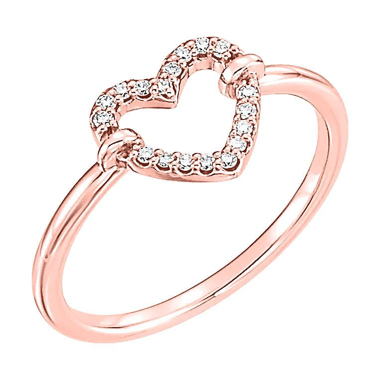 14k rose diamond heart ring
