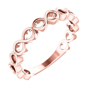 14k rose gold infinity stack ring