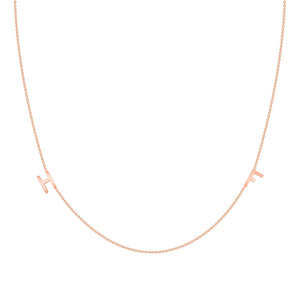 14k rose gold dainty initial necklace