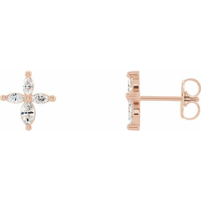 14k rose gold marquise cross diamond earrings