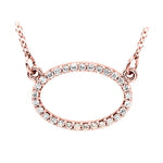 14k white gold oval diamond necklace