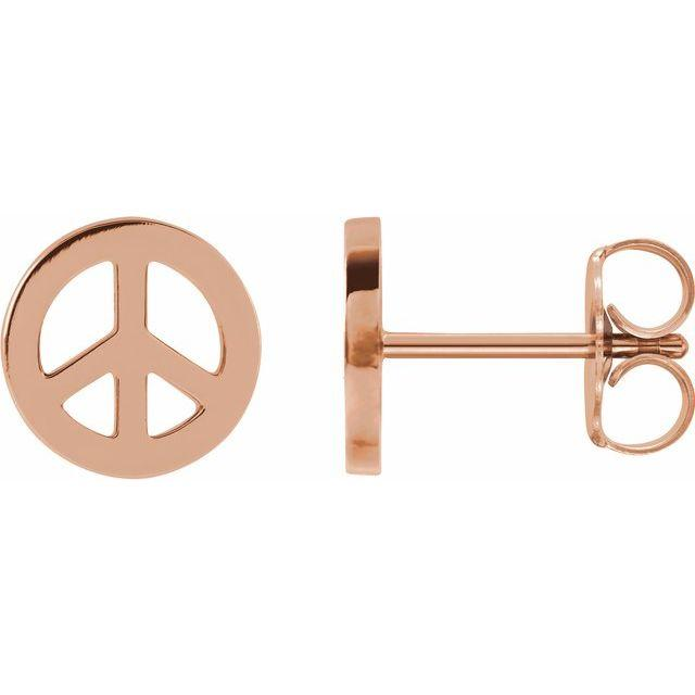 14k white gold peace sign earrings